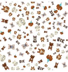 Dog wearing celebration hat seamless pattern vector