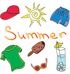 drawn colored summer clothes vector image