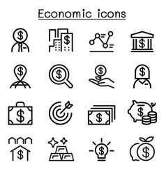 Economic business investment icons set vector