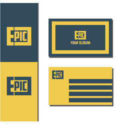 Epic logo with business card design vector