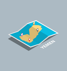 Explore yemen maps with isometric style and pin vector