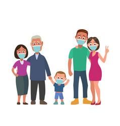 family in blue medical masks color flat vector image