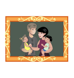 family photo in wooden frame vector image