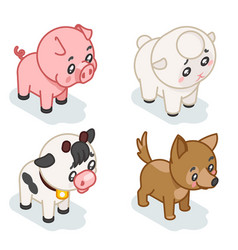 Farm animal cub isometric 3d cute baby cartoon vector