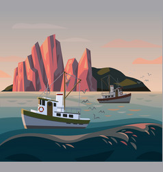 Fisherman ship or boat at sunset fishing vector