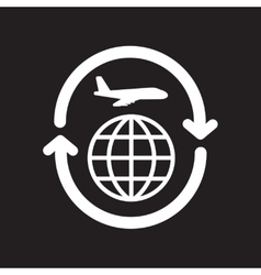 Flat icon in black and white style airplane arrows vector