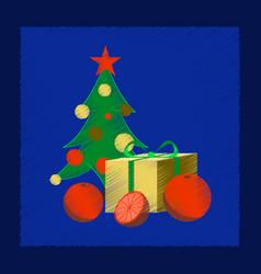 flat shading style icon christmas tree orange gift vector image