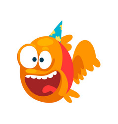 Funny smiling fish in party hat little sea vector