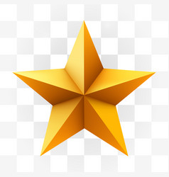 Golden star isolated on white transparent vector