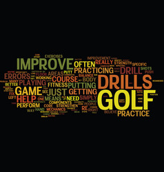 Golf drills to improve your game text background vector