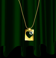 Green drape and golden pendant vector