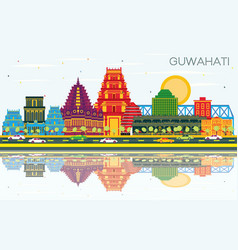 Guwahati india city skyline with color buildings vector