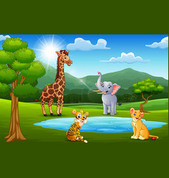 Happy animals playing next to small ponds with mou vector