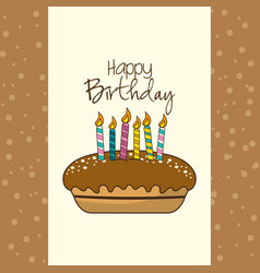 Happy birthday decoration with cake and candles vector