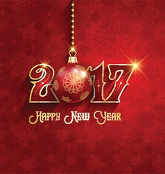 happy new year background with hanging bauble 1510 vector image