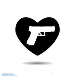 heart black icon love symbol pistol gun vector image
