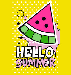 hello summer banner bright retro pop art style vector image