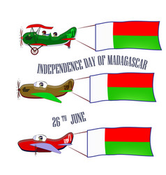 independence day of madagascar set with three vector image