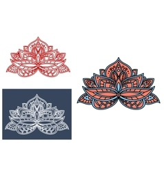 Indian flower adorned by cyan paisley ornament vector image