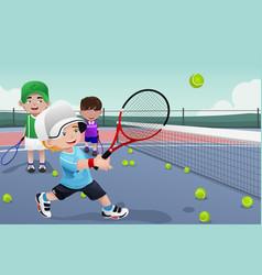 kids in tennis practice vector image
