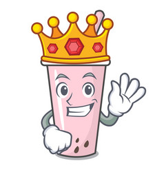 King raspberry bubble tea character cartoon vector