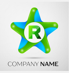 Letter r logo symbol in the colorful star on grey vector