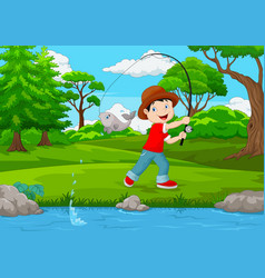 little boy fishing on the lake vector image