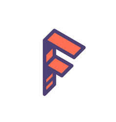 logo sign letter f linear outline icon vector image