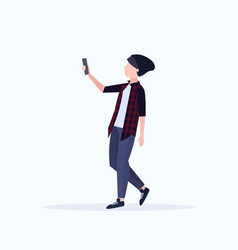 man taking selfie photo on smartphone camera vector image