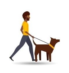 Man walking a brown dog vector