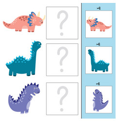 Match baby dinos to mothers matching game vector