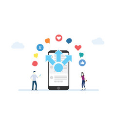 Mobile content sharing concept with smartphone vector