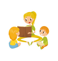 mom reading a book to her little kids family vector image
