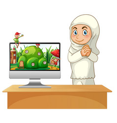 muslim girl next to computer fairy tale theme vector image