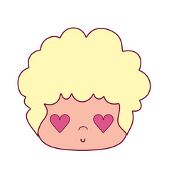 Nice man head with hairstyle and heart eyes vector