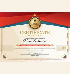 official certificate with red turquoise square vector image