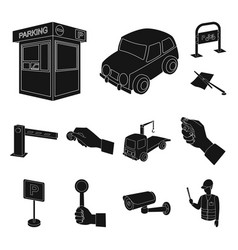 parking for cars black icons in set collection for vector image