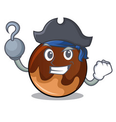 Pirate chocolate donut character cartoon vector