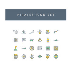 pirate icons set with filled outline style design vector image