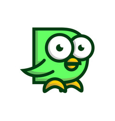playful bird initial d logo creative concept vector image