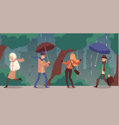Rainy and windy autumn day background with vector