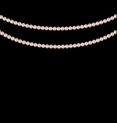Realistic string pearls on black background vector