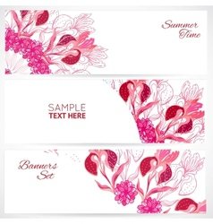 Red floral ornament banners set vector