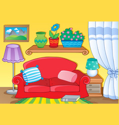 room with furniture theme image 1 vector image