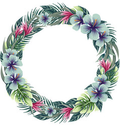 Round floral frame wreath with tropical plants vector