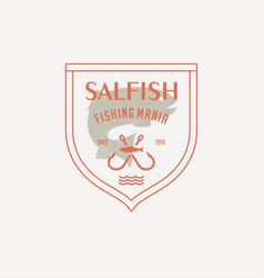 Salmon fish logo seafood label badge vector