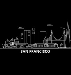 san francisco city silhouette skyline usa - san vector image