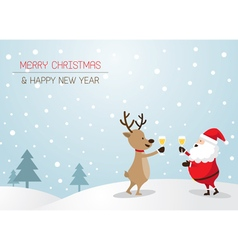 santa claus and reindeer drinking champagne vector image