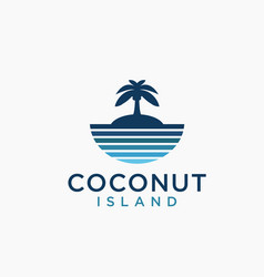 sea and coconut island logo icon template vector image