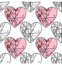 Seamless pattern with decorative hearts for vector image
